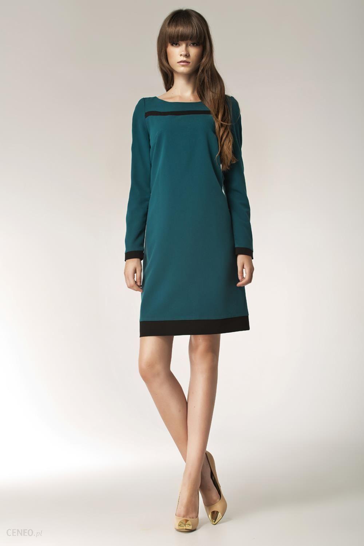 4d34bcfe4e Zielona Elegancka Sukienka z Długim Rękawem i Czarnymi Panelami - zdjęcie 1