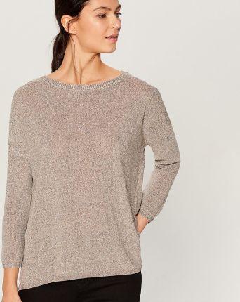 1c86dc6861 Mohito - Brokatowy sweter z asymetrycznym dołem - Beżowy Mohito