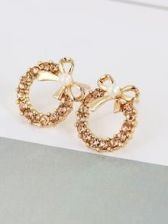 Bow Detail Rhinestone Hoop Earrings