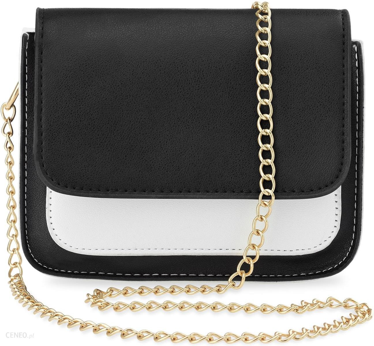 ecf5433d4fc3e Listonoszka damska na łańcuszku elegancka torebka – czarno-biała z czarną  klapką - zdjęcie 1