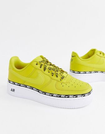 best authentic 05e8f 2a9f7 Nike Yellow Air Force 1 Swoosh Tape Trainers - Yellow