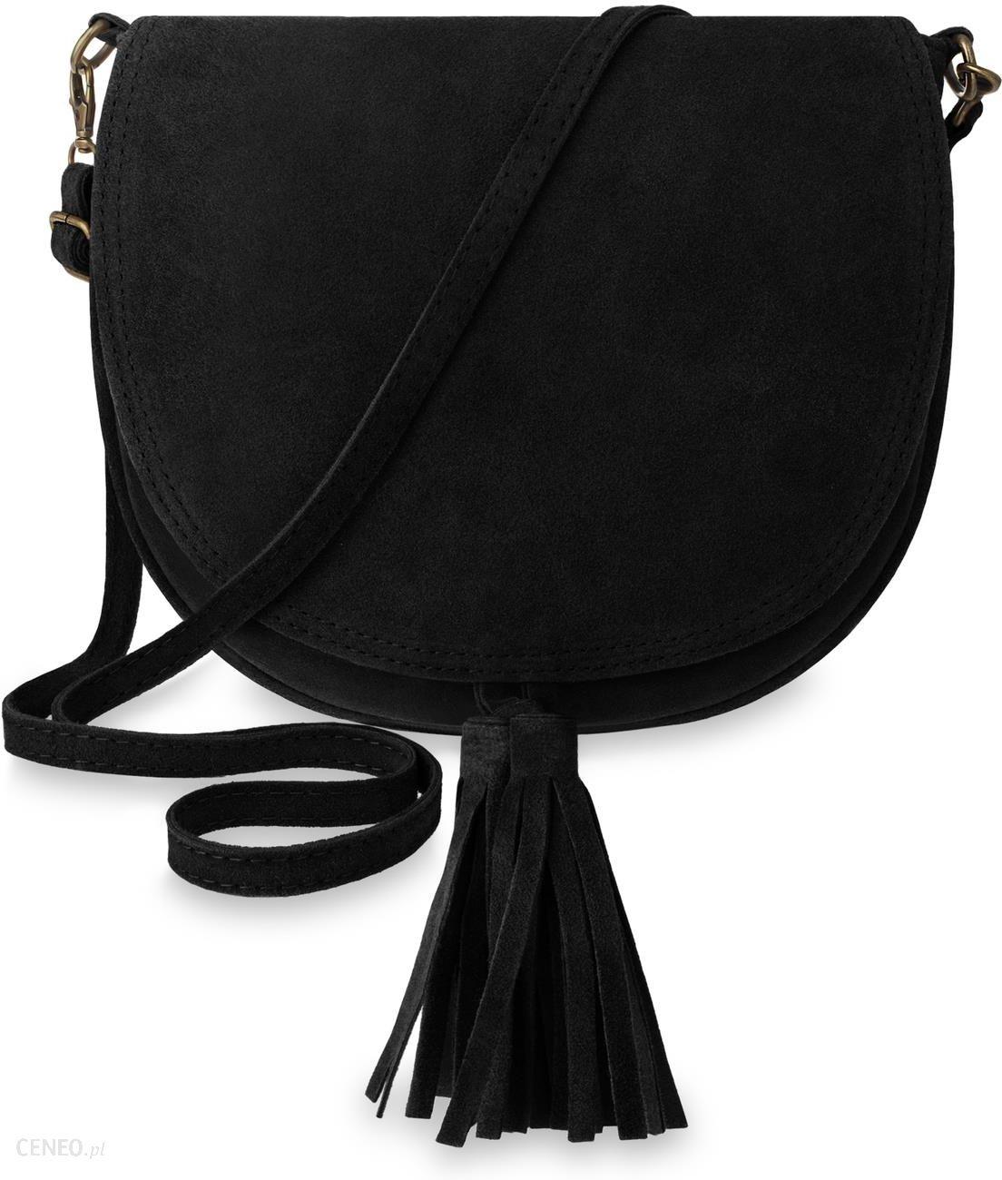 3ec89b2f49467 Zamszowa listonoszka miękka torebka damska frędzle boho – czarny - zdjęcie 1