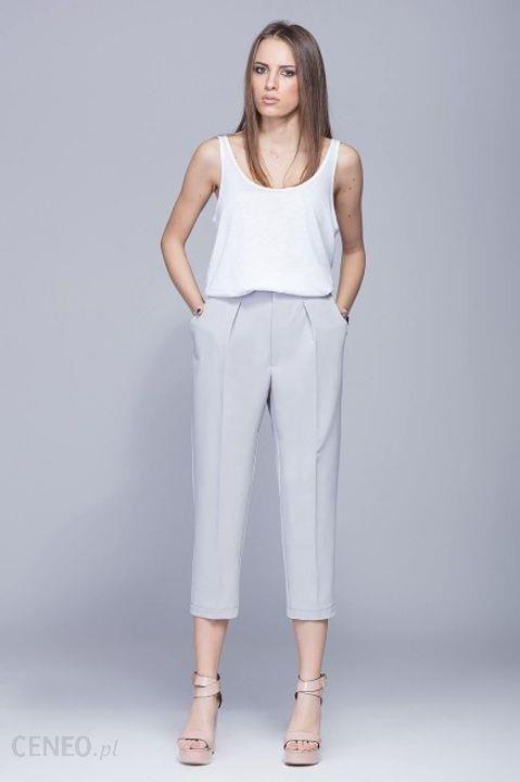 d4bb45c8 Eleganckie spodnie w kant z wysokim stanem L Szary - Ceny i opinie -  Ceneo.pl