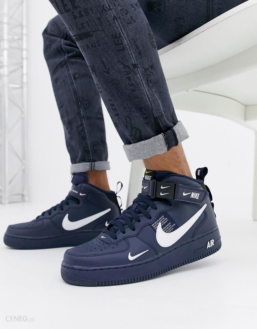 Nike Air Force 1 Mid '07 Trainers In Navy 804609 403 Black Ceneo.pl