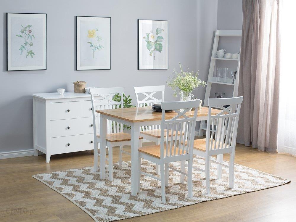 Cudowna Blmeble Stół Drewniany Biały 120x75 cm Houston - Opinie i OD35
