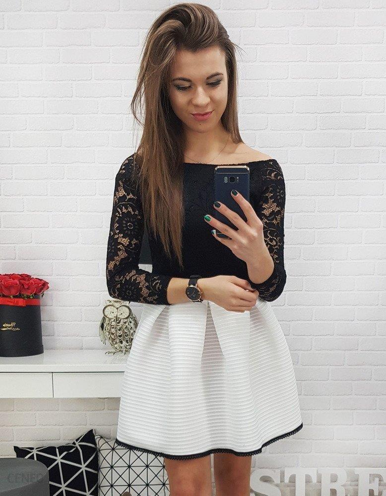 Dstreet Sukienka koronkowa ARIANA czarno biała (ey0647) Ceny i opinie Ceneo.pl