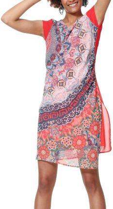 f89976fd86 Desigual czerwona sukienka Vest Japan z kolorowymi motywami - 38