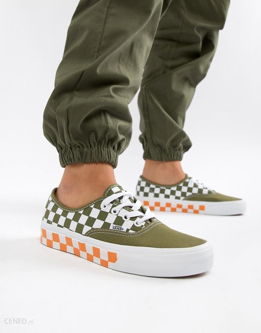 Vans Exclusive khaki And Orange Mix Checkerboard Authentic Trainers Multi Ceneo.pl