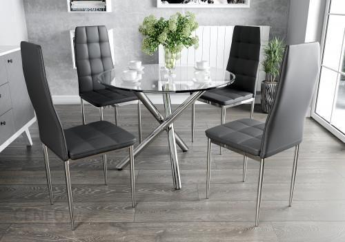 Meblemwm Stół Szklany 100cm Gr 078 4 Krzesła Tapicerowane K1 Chrom