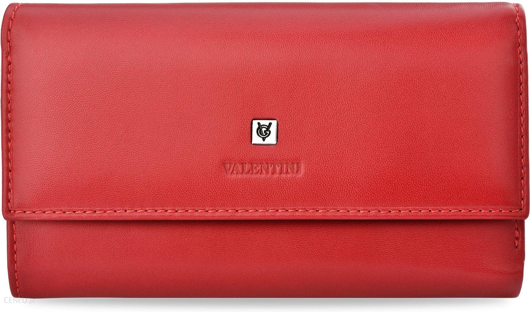b7eae47c02e91 Pojemny portfel damski valentini duża portmonetka kopertówka miękka skóra  naturalna - czerwony - zdjęcie 1
