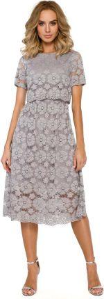428acf3d23 MOE Szara Koronkowa Rozkloszowana Midi Sukienka z Krótkim Rękawem