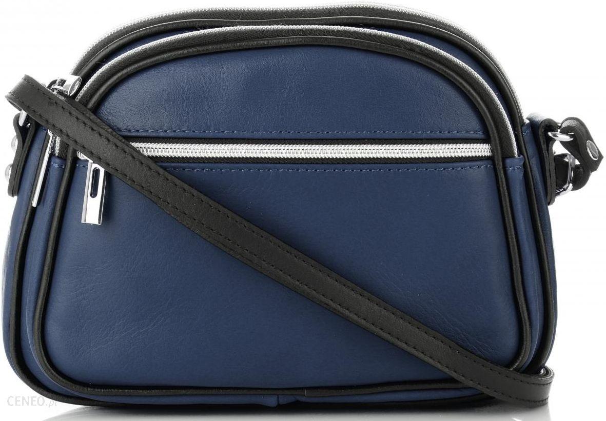 ed6fd16e3ae02 Włoskie Torebki Skórzane Listonoszki marki Genuine Leather Dwukomorowe  Granatowe (kolory) - zdjęcie 1