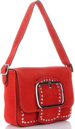 6066de29212e5 Vittoria Gotti Modne Torebki Skórzane Listonoszki Made in Italy z Nitami w  stylu Glamour Czerwone ...