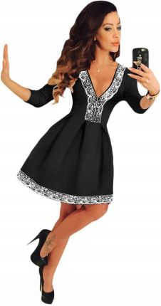e71ba0e398 Sukienka czarna rozkloszowana koronka dekolt rękaw Allegro