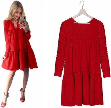 7847e156b6 Mohito - Sukienka na jedno ramię z falbanami - Czerwony - damski ...