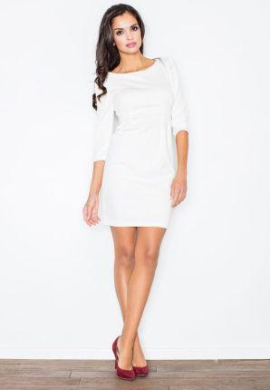 b3273b0bbc Podobne produkty do Figl Ecru Koktajlowa Sukienka z Kopertowym Dekoltem z  Baskinką