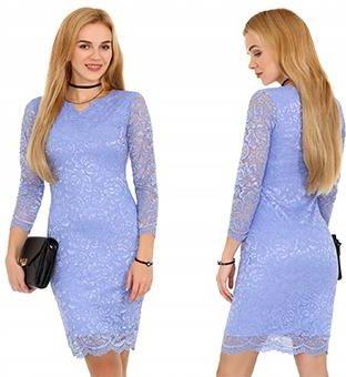 ff3424a53e Obcisła niebieska Sukienka koronki przed kolano XL Allegro