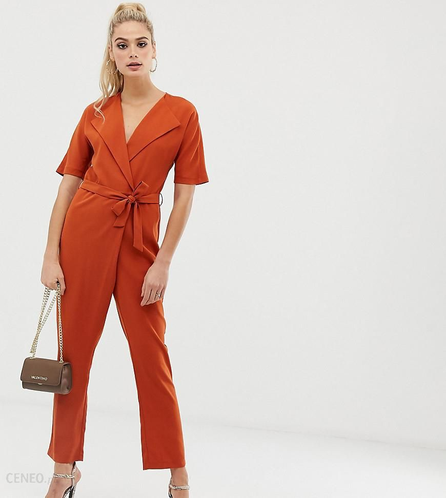 31424e3ea8f ASOS DESIGN Tall wrap jumpsuit with self belt - Brown - zdjęcie 1