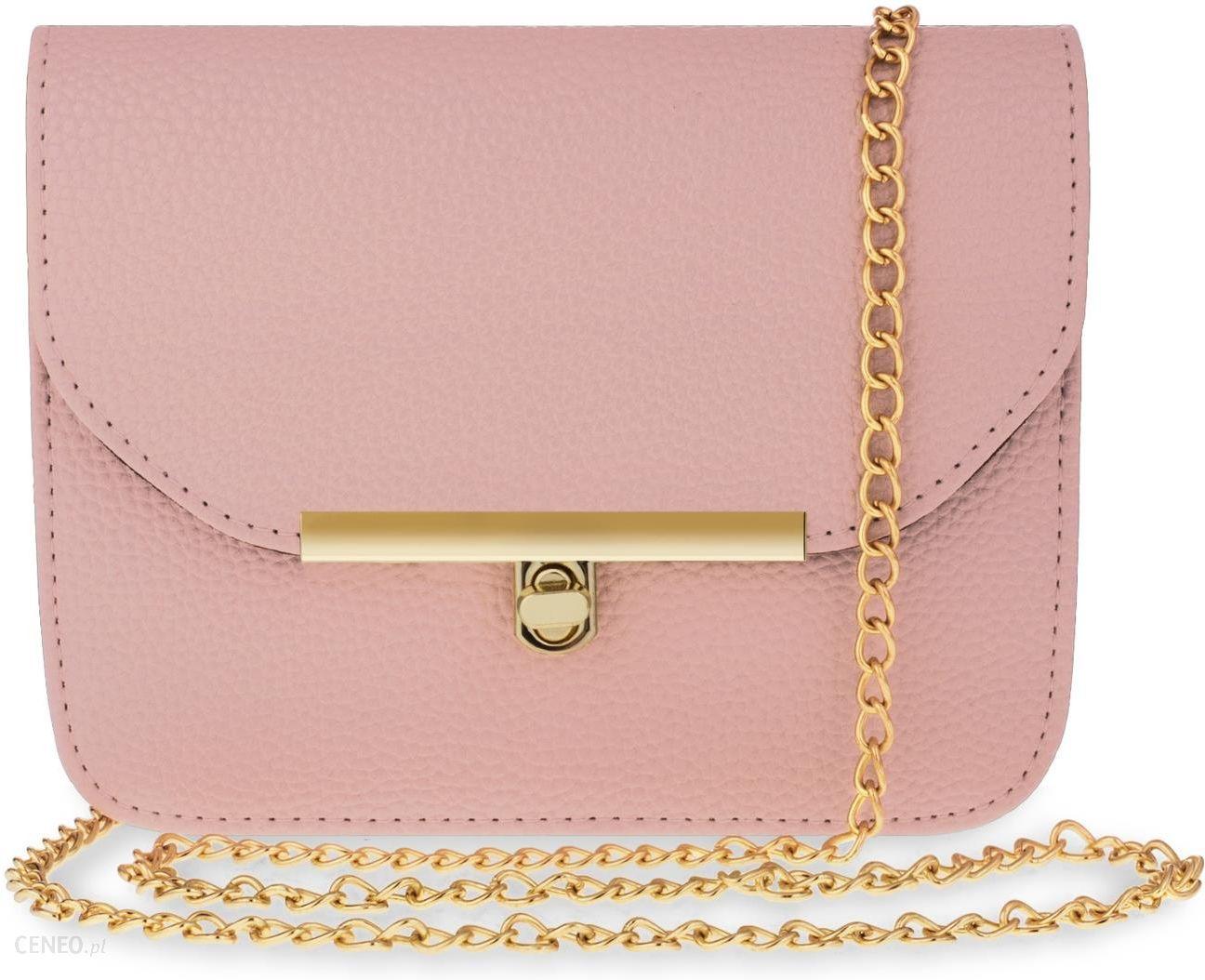 445f4dc69f915 Klasyczna listonoszka usztywniana torebka damska z łańcuszkiem – różowy -  zdjęcie 1