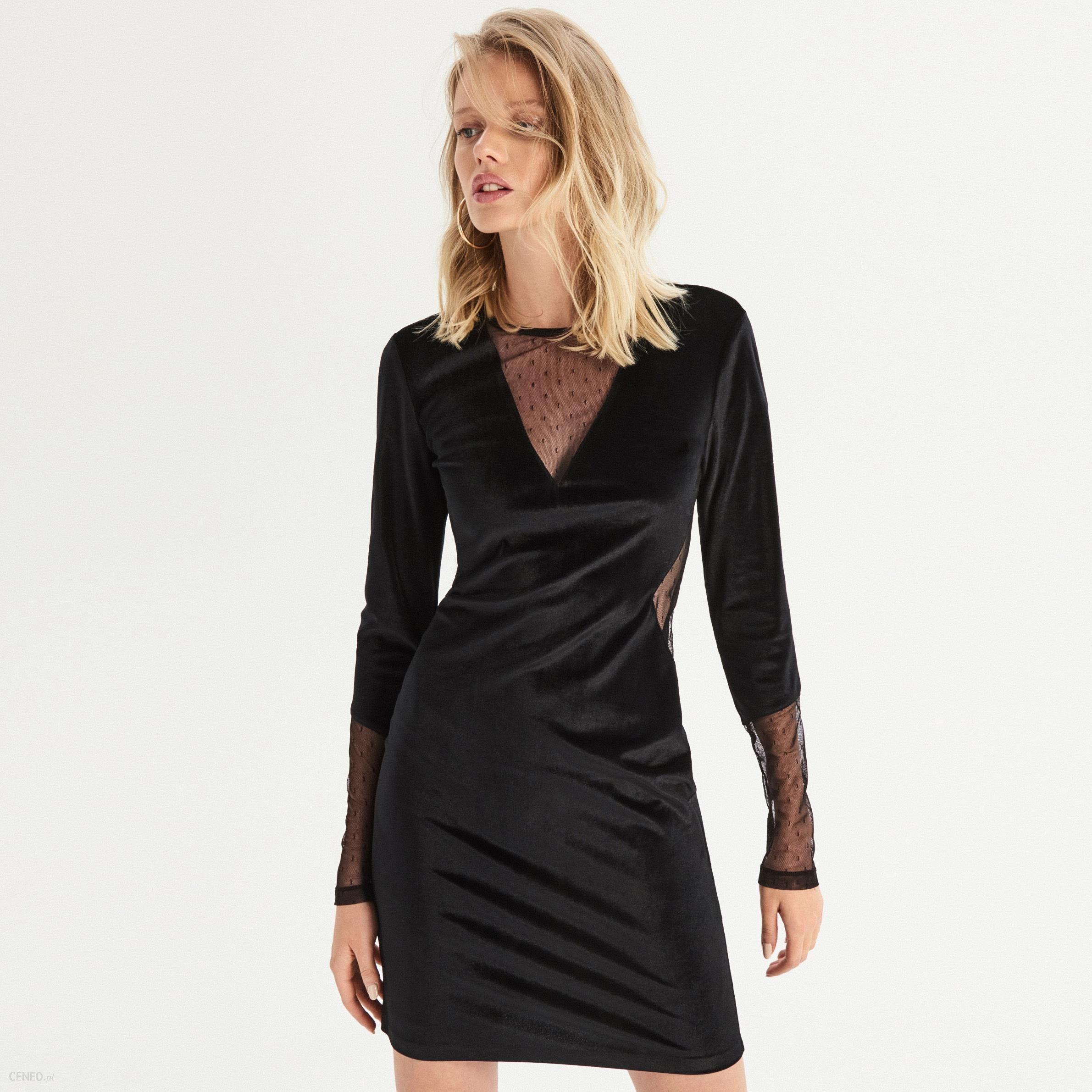 127435bd06 Sinsay - Welwetowa sukienka z wstawkami - Czarny - Ceny i opinie ...