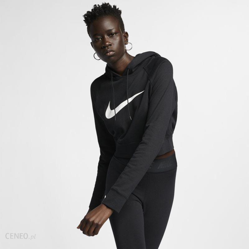2cdcb51ea0deeb Damska bluza z kapturem z dzianiny o skróconym kroju Nike Sportswear Swoosh  - Czerń - zdjęcie