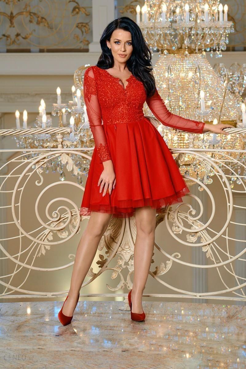 9991a55151 Bicotone Tiulowa sukienka z koronką - Zosia - czerwona