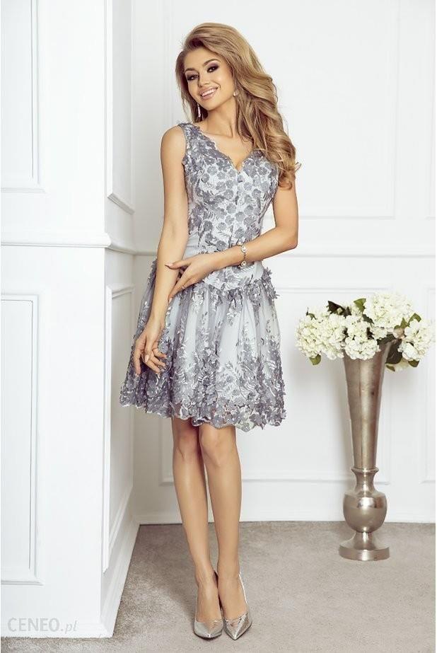 87272e717a Imesia Rozkloszowana sukienka z gipiurą i kwiatami 3D Nessa - szara ...