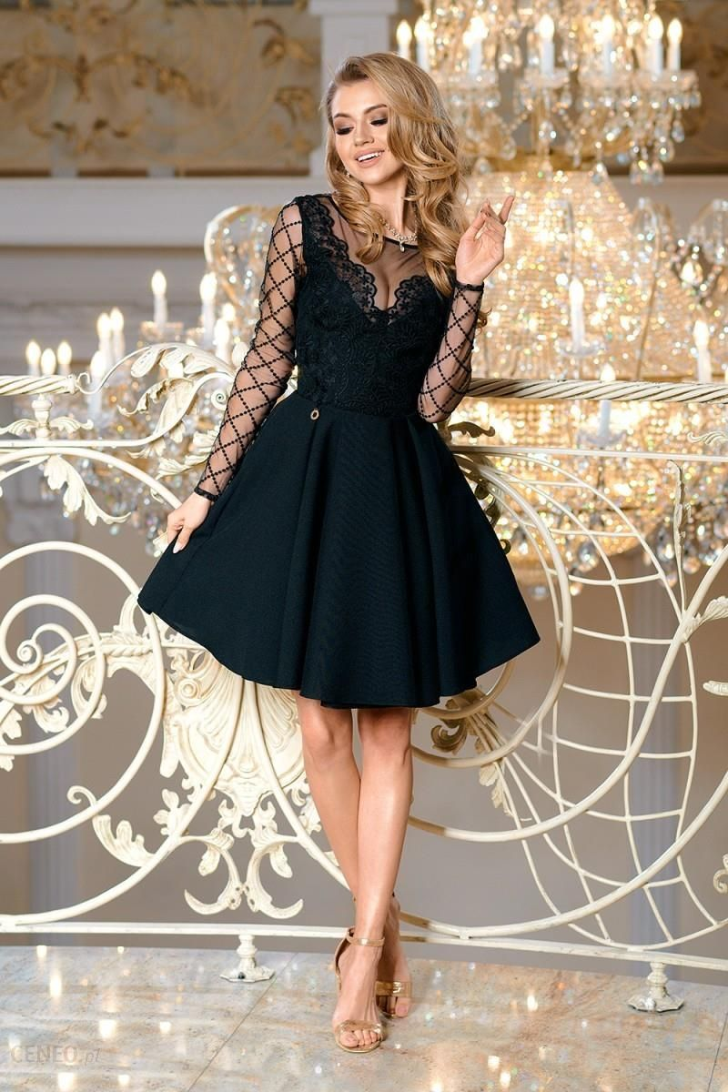 b41591b3c8 Bicotone Rozkloszowana sukienka z ozdobną koronką w kratę Loara - czarna