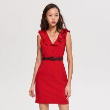 a6a2324fec Reserved - Sukienka z falbaną przy dekolcie - Czerwony