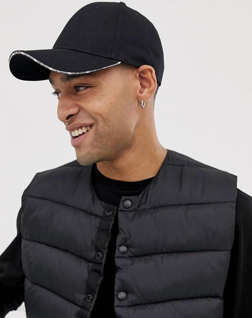 a9dd9e8aadb ASOS DESIGN baseball cap in black with peak detail - Black - zdjęcie 1
