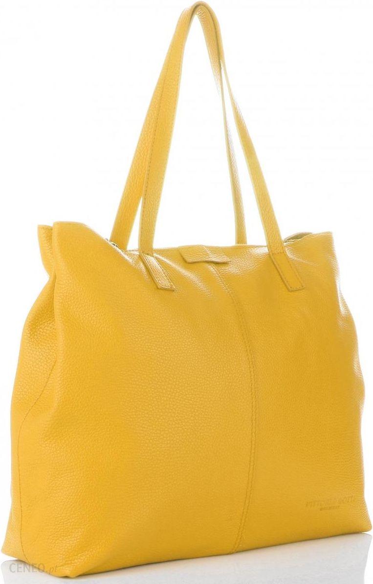 Włoskie Torby Skórzane Vittoria Gotti w rozmiarze XL na każda okazję Żółte (kolory)