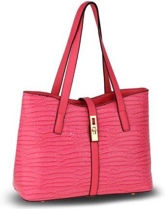 f2f0d6c60dc5a Różowa lakierowana torebka na ramię skóra krokodyla - różowy