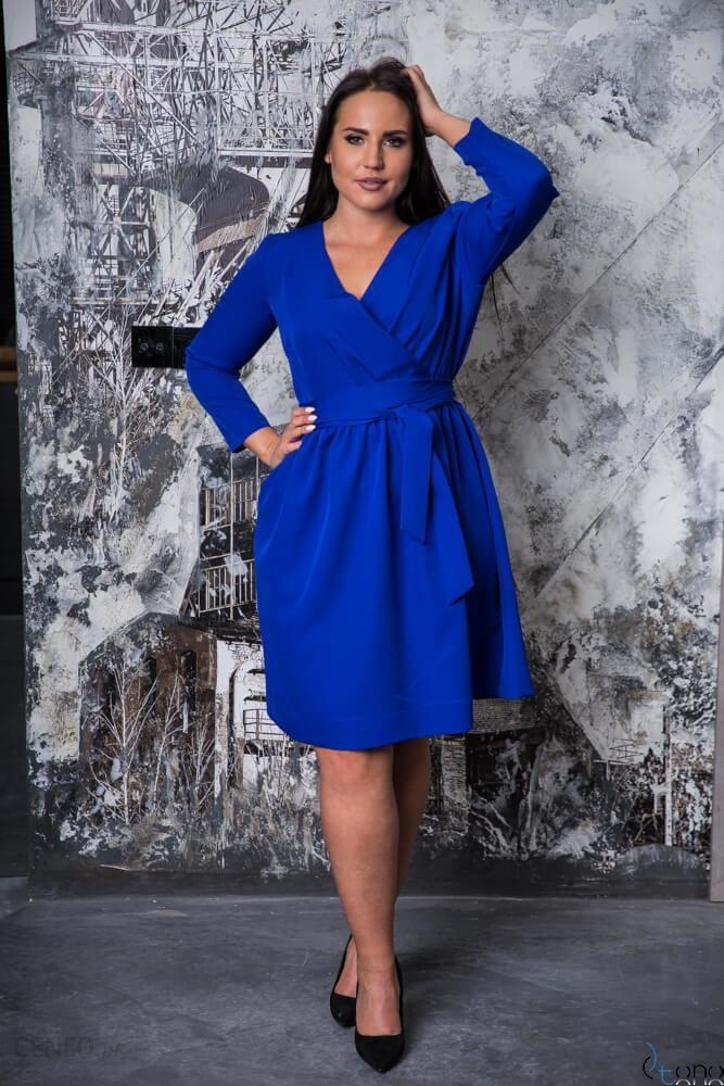 7714493df6 Chabrowa Sukienka MAKAN Kopertowa Plus Size - niebieski - Ceny i ...
