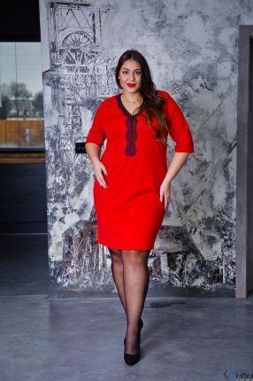 87f44a8b2f ... Damska KIMBERLY Kopertowa Size Plus - różowy. Czerwona Sukienka NARIZ Plus  Size - czerwony