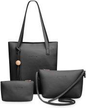 01992bc9593 Zestaw 3w1 torebki shopperbag, listonoszka + saszetka – czarny