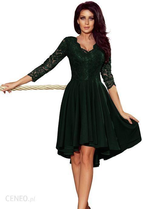 626659bb1c 210-3 NICOLLE - sukienka z dłuższym tyłem z koronkowym dekoltem - CIEMNA  ZIELEŃ M