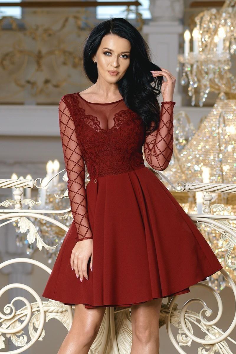 750311f5cd Bicotone Rozkloszowana sukienka z ozdobną koronką w kratę Loara - bordo