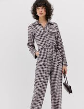 Lost Ink boiler suit with belted waist in check - Pink - zdjęcie 1
