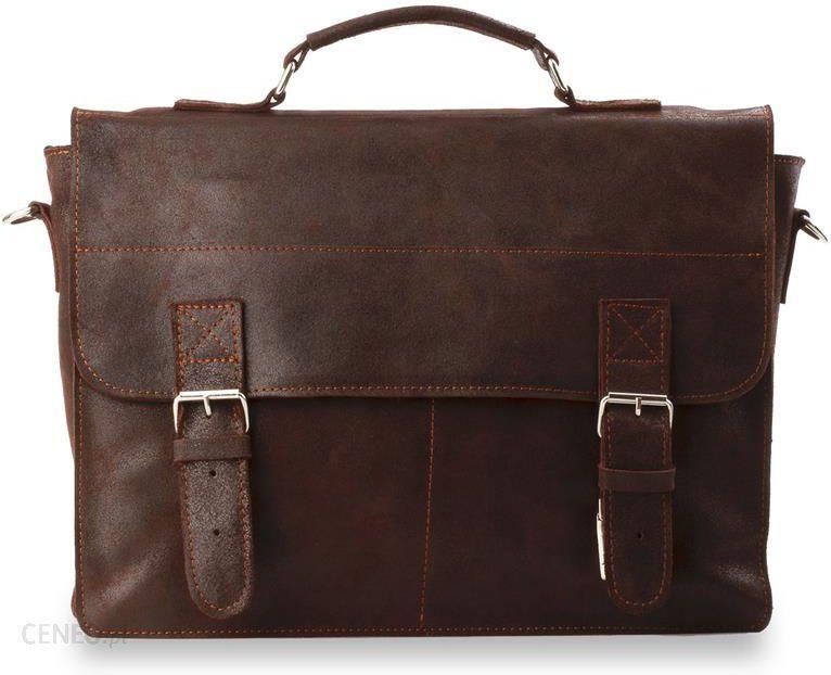 889fc425e1b49 Modna teczka męska skórzana torba na ramię i do ręki styl vintage - brązowy  - zdjęcie