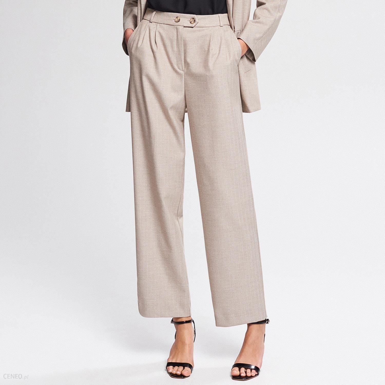 d70742d3bf5a1d Reserved - Eleganckie szerokie spodnie - Beżowy - Ceny i opinie ...