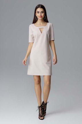 2c3ed99eb0 Figl Beżowa Prosta Sukienka z Dekoracyjnym Wycięciem przy Dekolcie