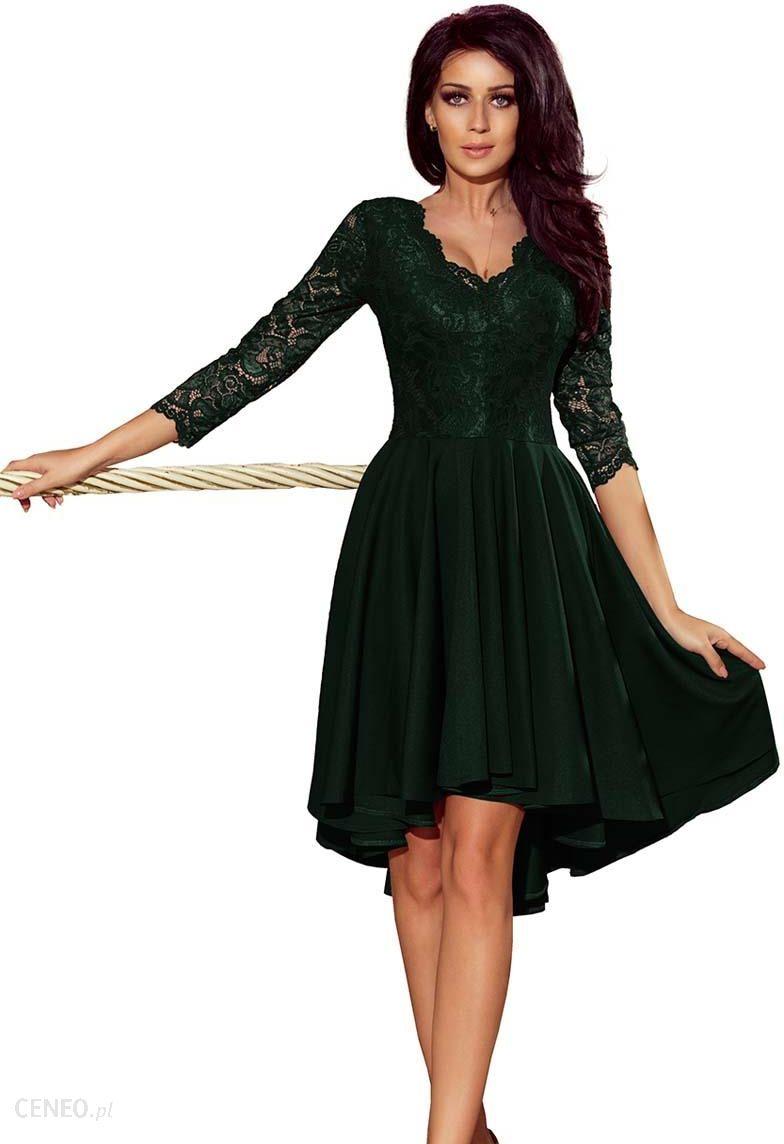 f89c25f2bb Numoco Ciemnozielona Wieczorowa Asymetryczna Sukienka z Koronką - zdjęcie 1