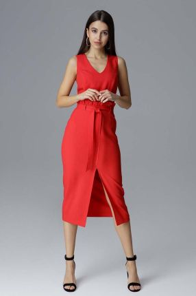 dbd175222e Bicotone Rozkloszowana sukienka z długim rękawem - czerwona LUCIA ...