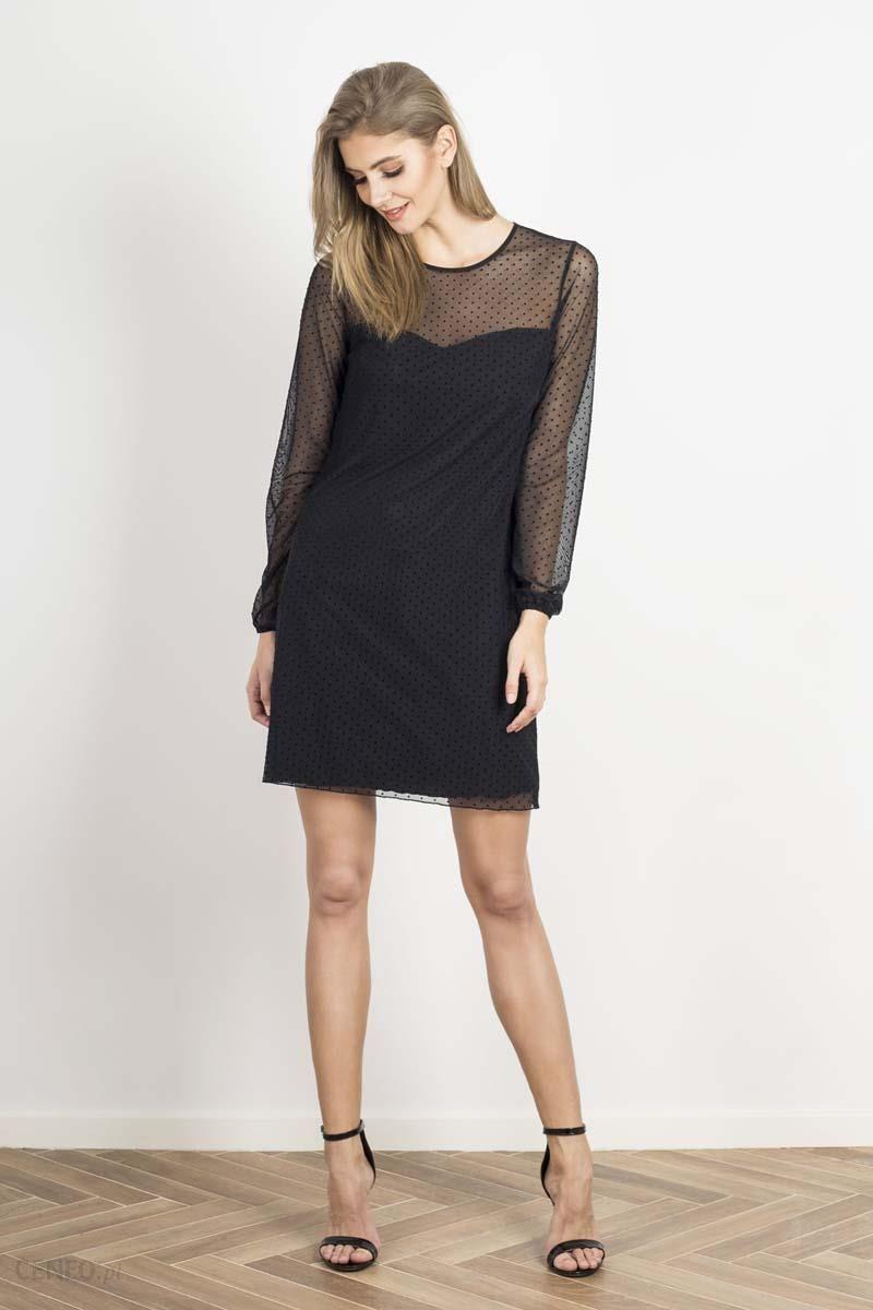 bb1f6712e5 Wow Point Czarna Prosta Sukienka ze Wstawkami z Siateczki w Kropki -  zdjęcie 1