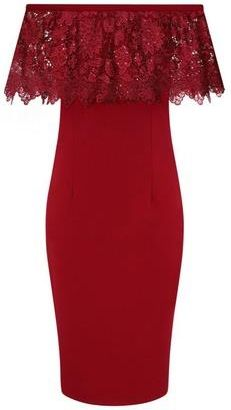 e58ae7a0c42 Guess   Paper Dolls Red Bardot Lace Bodycon Dress - Ceneo.pl
