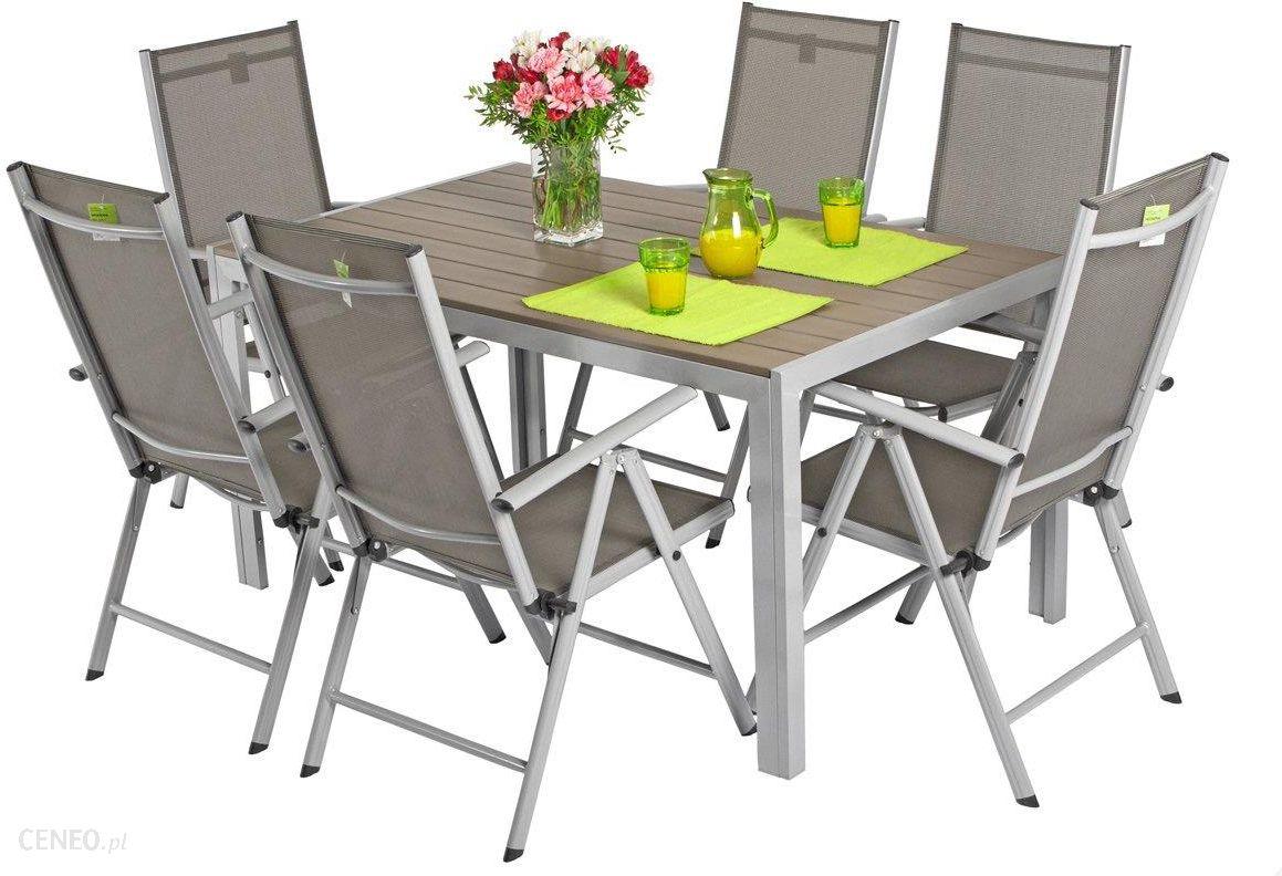 Edomatorpl Meble Ogrodowe Składane Aluminiowe Modena Stół I 6 Krzeseł Srebrny