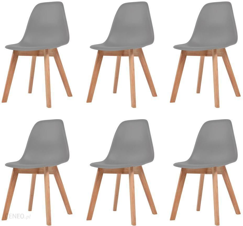 Vidaxl Krzesła Do Jadalni 6 Sztuk Szare