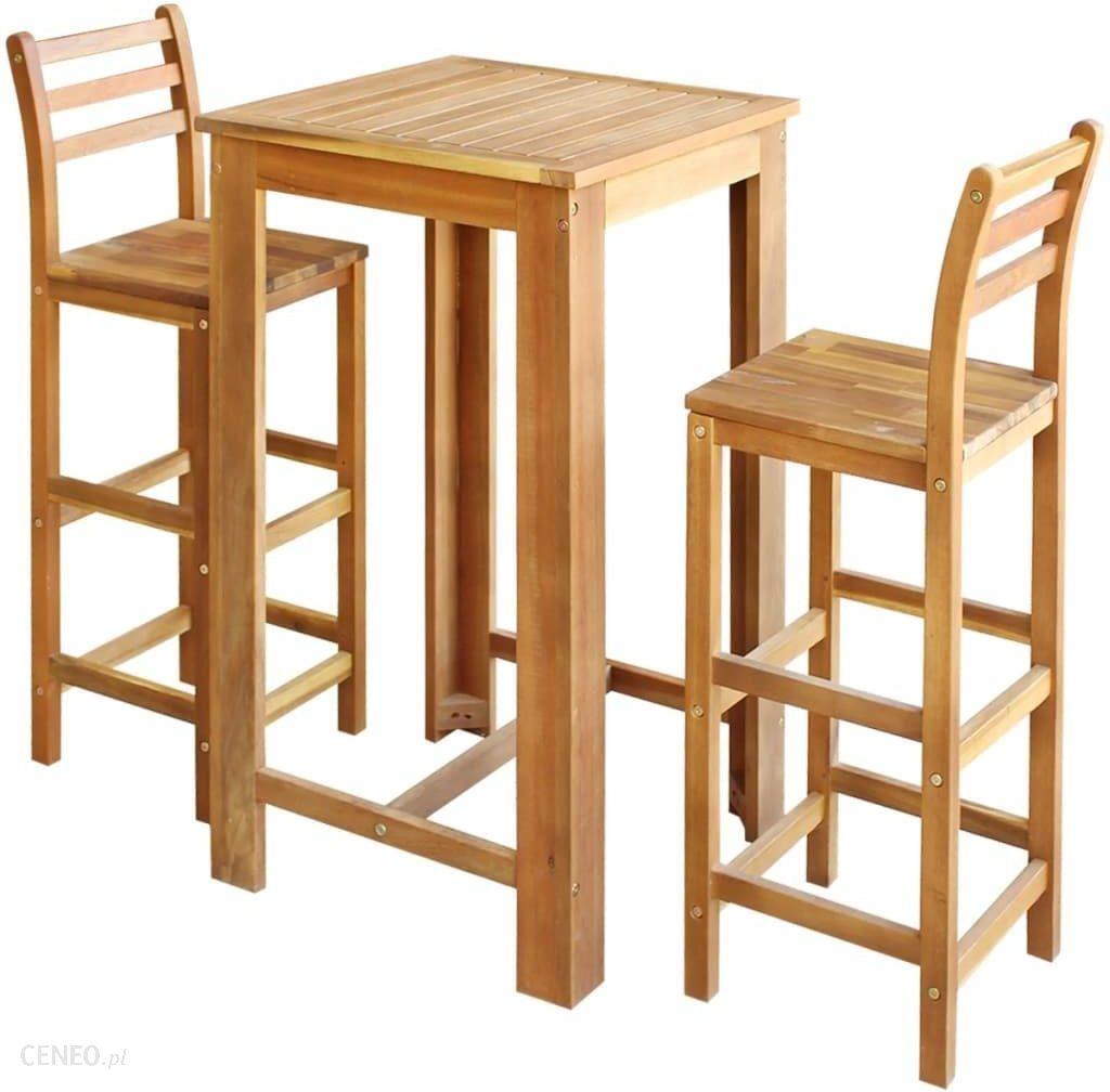 Vidaxl Stolik I Krzesła Barowe 3 Elementy Lite Drewno Akacjowe