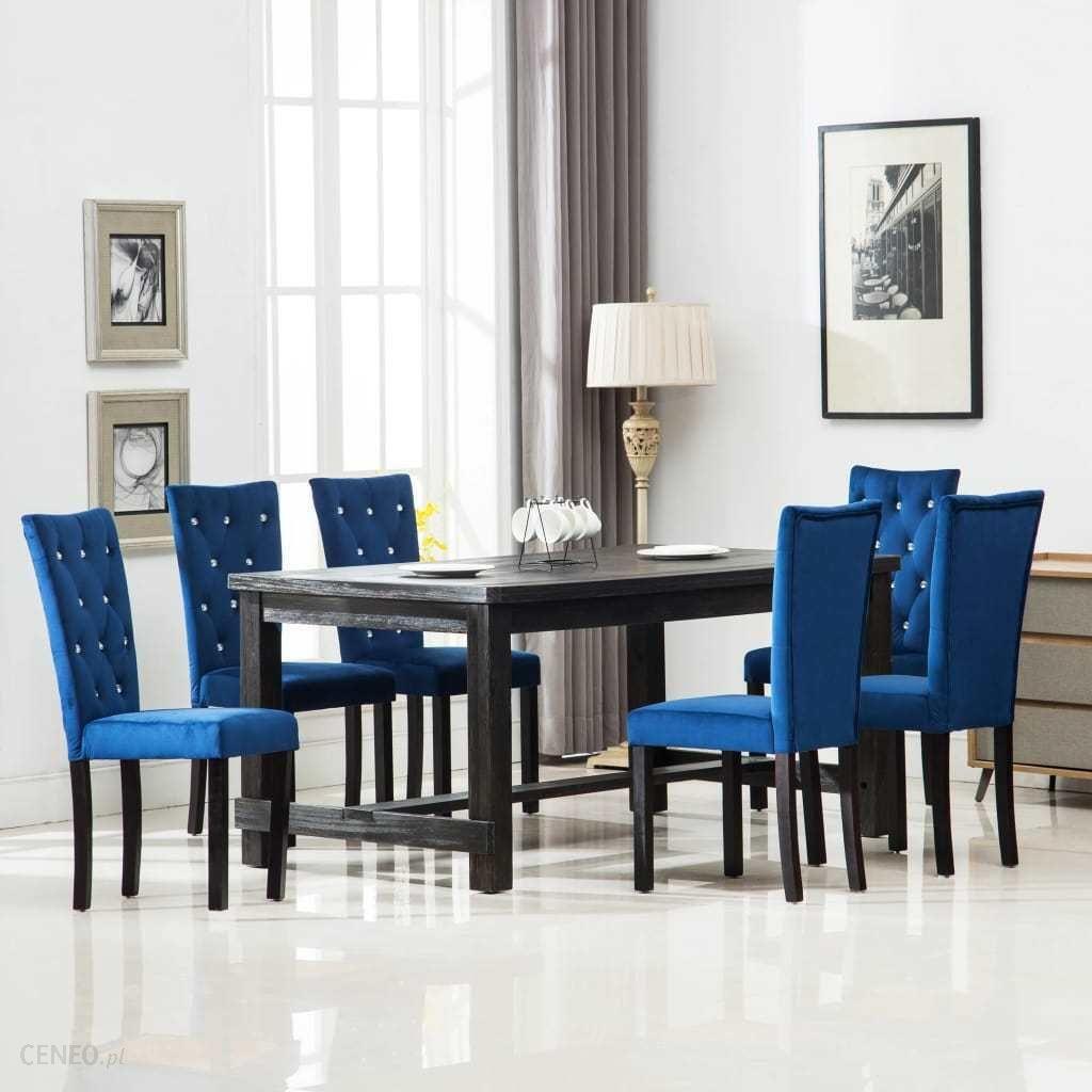 Vidaxl Krzesła Do Jadalni 6 Szt Aksamitne Granatowe