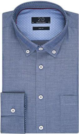 e38c55d404 Elegancka niebieska koszula męska Profuomo z kontrastowymi wstawkami 38